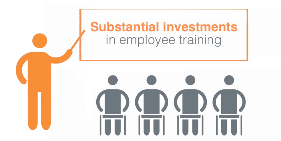 Employees being trained at work is an investment